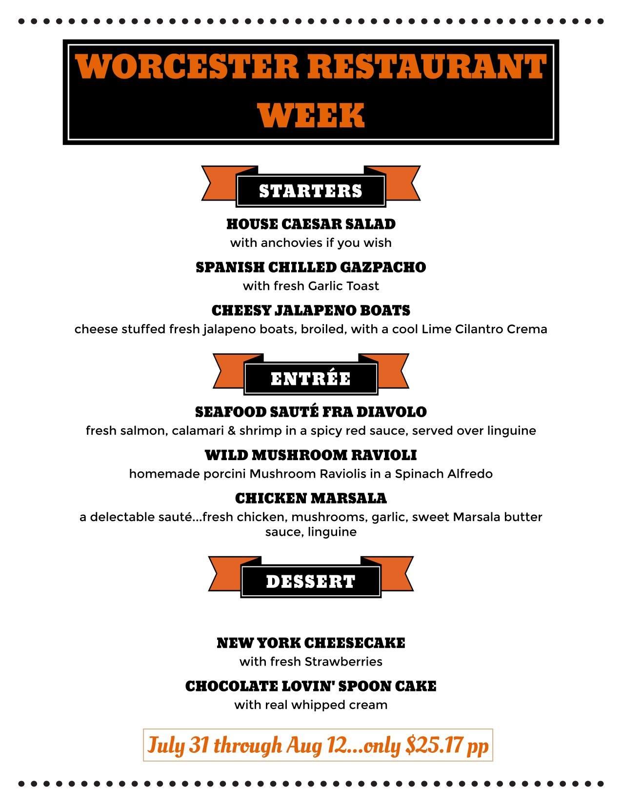 Peppercorns Worcester Restaurant Week